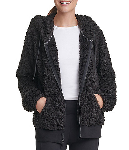 Marc New York Faux Fur Zip Front Long Sleeve Hoodie