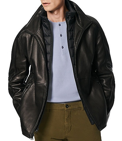 Marc New York #double;Hartz#double; Long-Sleeve Stand-Collar Lambskin Jacket