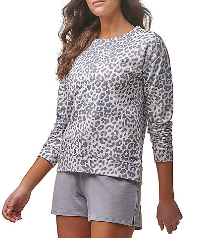 Marc New York Performance Leopard Print French Terry Drop Shoulder Crew Neck Pullover