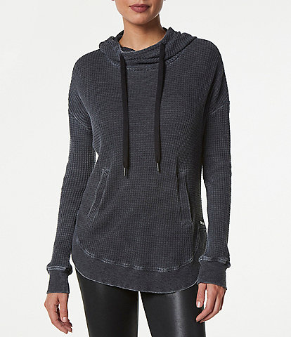 Marc New York Performance Cowl Neck Long Sleeve Washed Waffle Hoodie