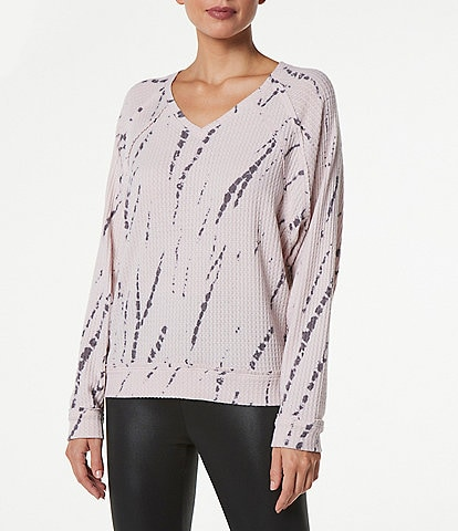 Marc New York Performance V-Neck Long Sleeve Feather Waffle Top