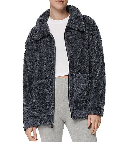 Marc New York Soft Knit Faux Fur Pocket Boyfriend Zip Front Jacket