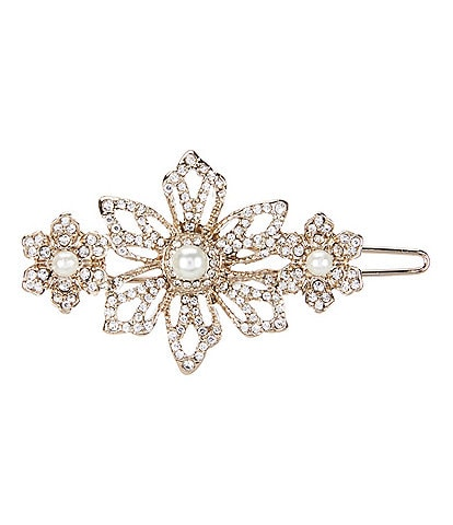 Marchesa Crystal Flower Hair Barrette