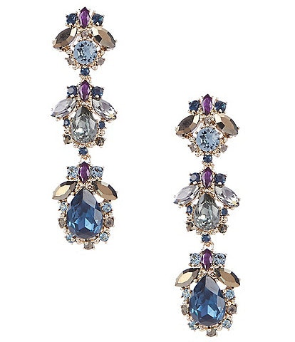 Marchesa Large Stone Linear Statement Earrings