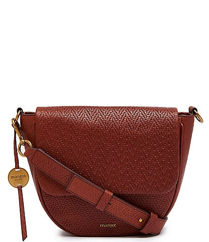 Margot Macie Woven Leather Large Flap Crossbody Bag