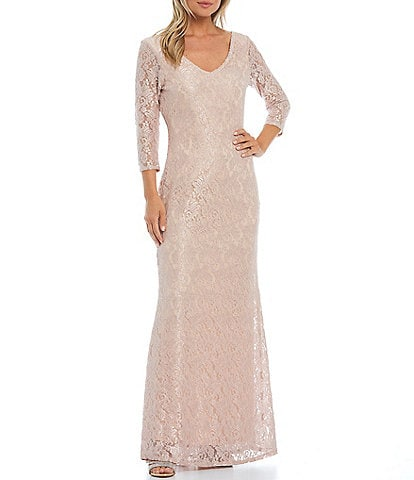 Marina 3/4 Sleeve Glitter Sequin Lace Gown