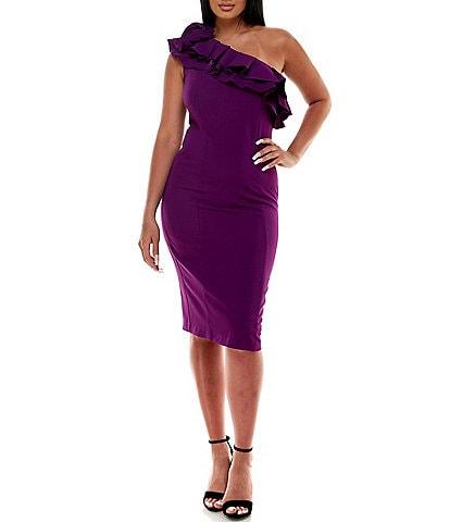 Marina Asymmetrical One Shoulder Ruffle Stretch Crepe Sheath Dress