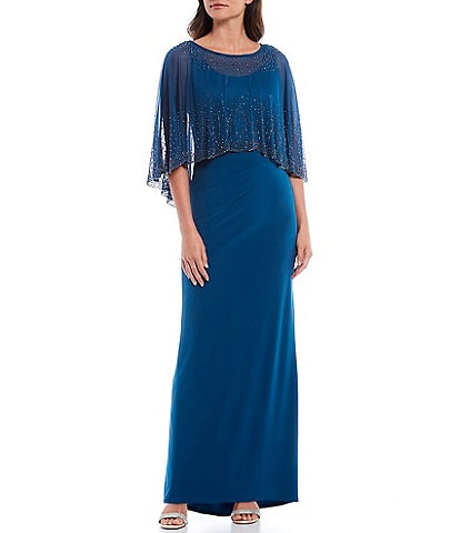 Marina Beaded Chiffon Popover Cape Sleeveless Gown