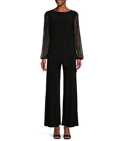 Marina Beaded Long Sleeve Round Neck 2-Piece Pant Set
