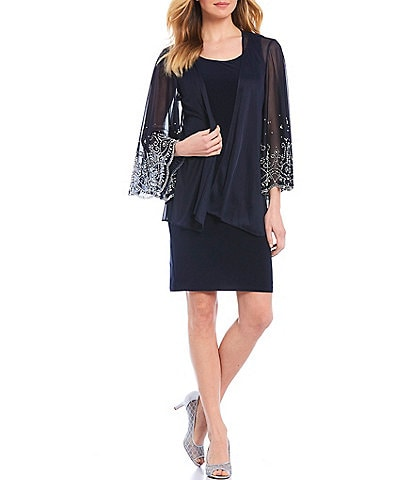 Marina Beaded Scallop Hem Sleeves Matte Jersey 2-Piece Jacket Dress