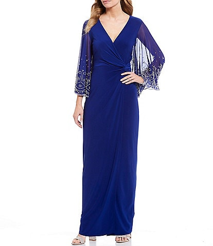 Marina V-Neck Beaded Sleeve Side Knot Gown