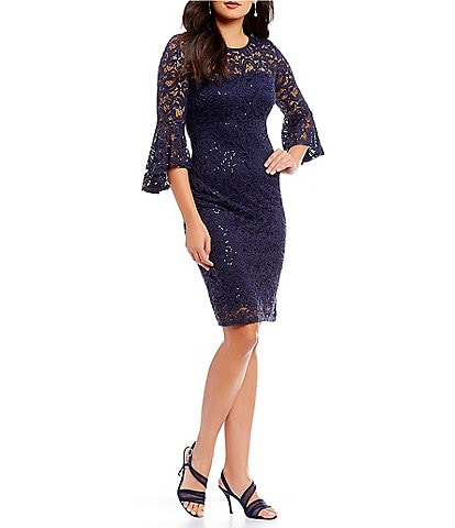 Marina Bell Sleeve Sequin Lace Dress