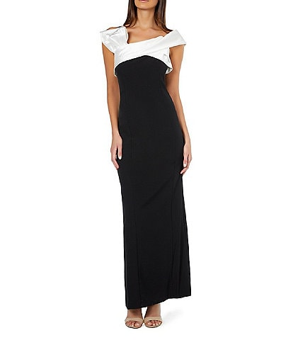 Marina Color Block Cap Sleeve Off-the-Shoulder Stretch Crepe Bow Gown