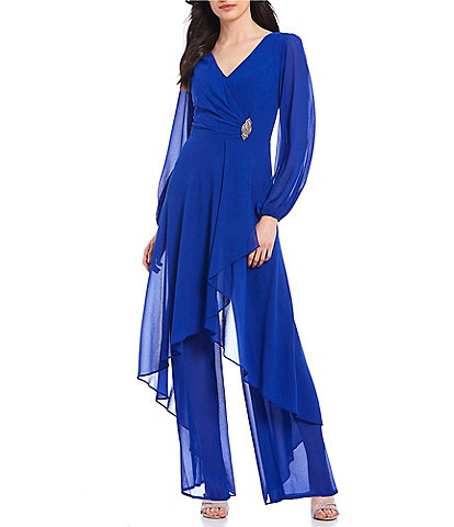 Marina Chiffon Overlay Long Sleeve V-Neck Jumpsuit