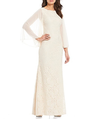 Marina Chiffon Sleeve Sequin Lace Gown