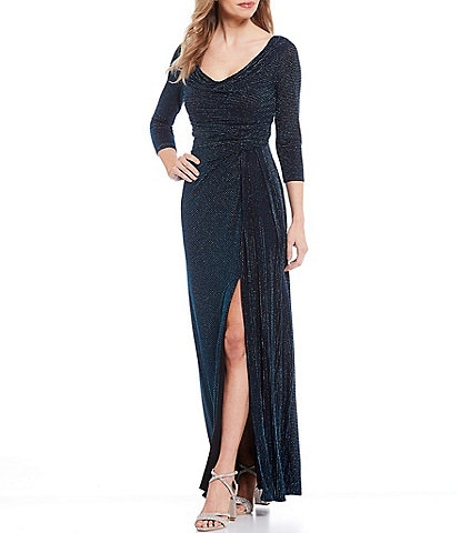 Marina Cowl Neck Metallic Knit Front Slit Gown