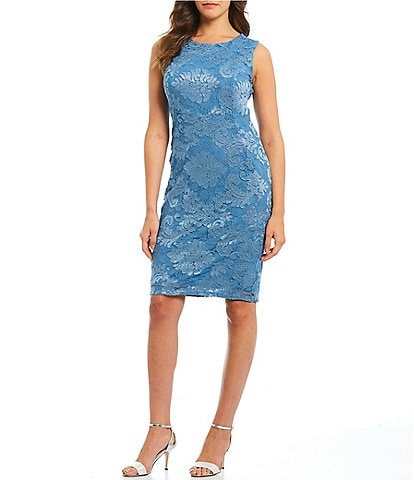 Marina Embroidered Lace Sleeveless Sheath Dress