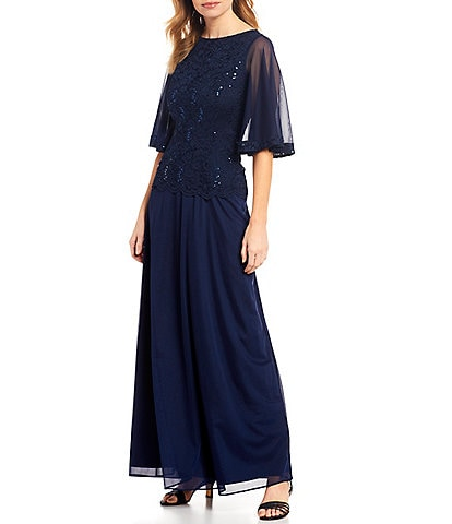 Marina Lace Sequin Bodice Sheer Bell Sleeve Matte Jersey Gown