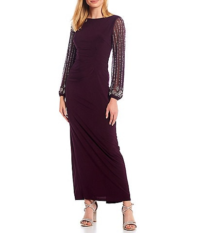 Marina Boat Neck Long Beaded Sleeve Matte Jersey Gown