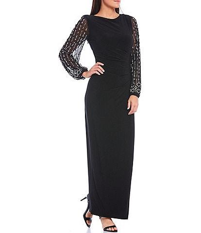 Marina Bateau Neck Long Beaded Sleeve Matte Jersey Gown
