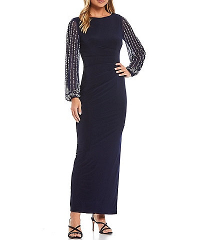 Marina Long Beaded Sleeves Matte Jersey Gown