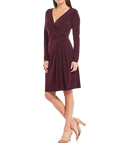 Marina Long Sleeve V-Neck Side Drape Jersey Dress
