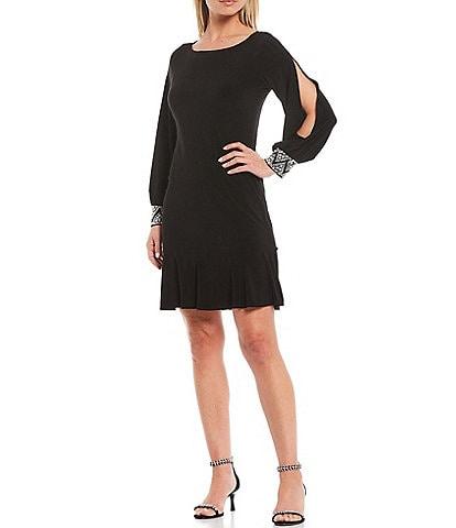 Marina Long Split Sleeve Beaded A-line Dress