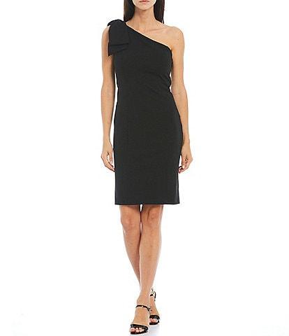 Marina Asymmetric Neck One Shoulder Bow Stretch Crepe Sheath Dress