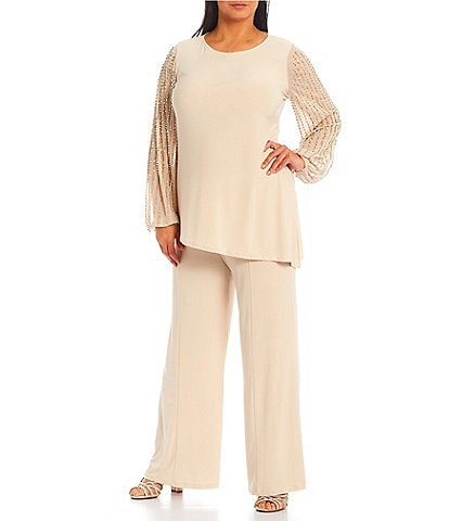 Marina Plus Size Beaded Long Sleeve Jewel Neck 2-Piece Pant Set