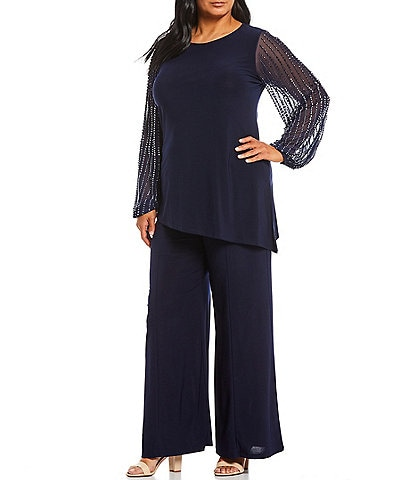 Marina Plus Size Beaded Sleeve 2 Piece Pant Set