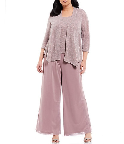 Marina Plus Size Glitter Metallic Knit Jacket Chiffon 3-Piece Pant Set