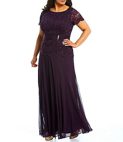 Marina Plus Size Lace Bodice Long Gown