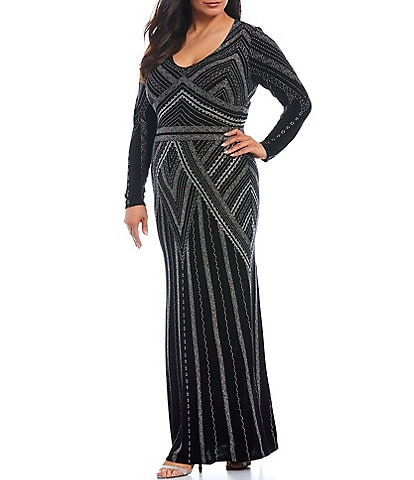 Marina Plus Size Long Sleeve Scoop Neck Glitter Gown