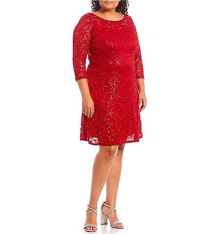 Marina Plus Size Sequin Lace Round Neck 3/4 Sleeve Dress