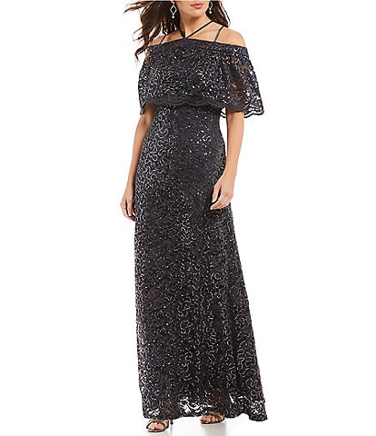 Marina Popover Cold Shoulder Sequin Lace Gown
