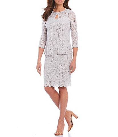 Marina Scalloped Glitter Lace 2 Piece Jacket Dress
