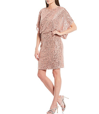 Marina Allover Sequin Boat Neck Dolman Sleeve Blouson Sheath Dress