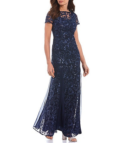 Marina Sequin Embroidered Mesh A-Line Gown