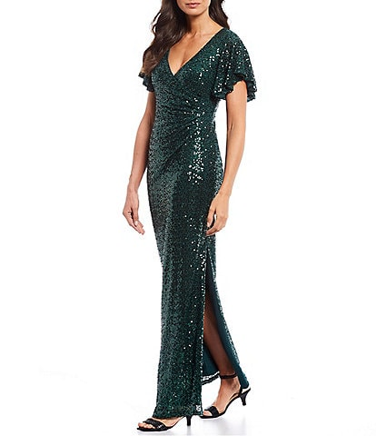 Marina Sequin Flutter Sleeve Side Drape Slit Sheath Gown