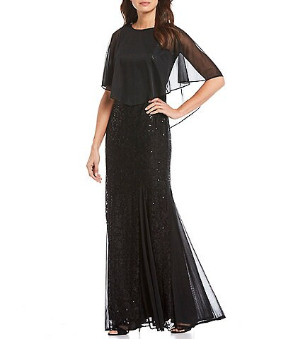 Marina Sequin Lace Cape Overlay Popover Gown