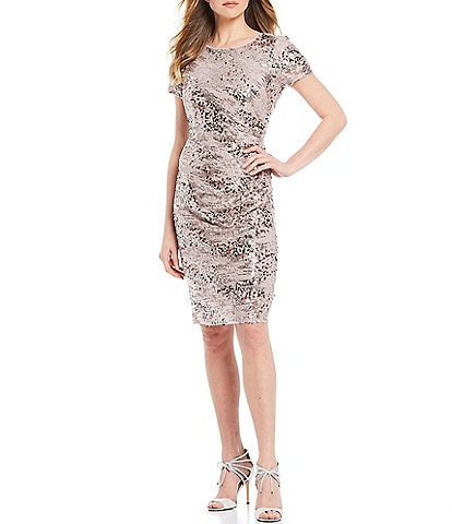 Marina Sequin Lace Ruched Detail Cocktail Dress