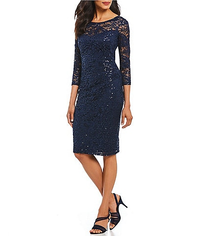 Marina Sequin Lace Sheath Dress
