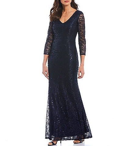 Marina Sequin Lace V-Neck 3/4 Illusion Lace Sleeve Gown