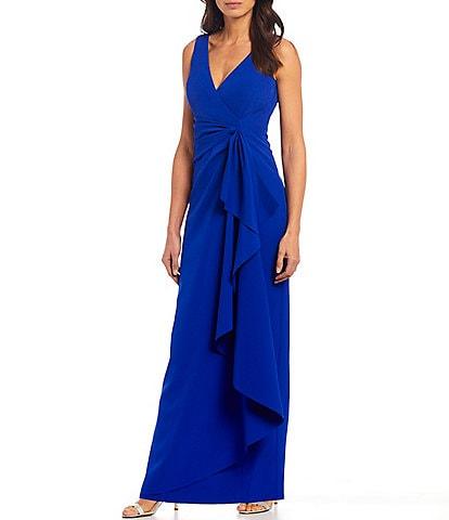 Marina Sleeveless Side Drape Scuba Gown
