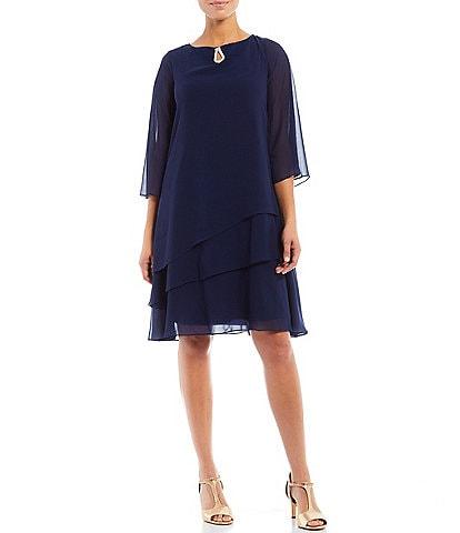 Marina Split 3/4 Sleeve Round Beaded Keyhole Neck Asymmetrical Tiered Chiffon Shift Dress