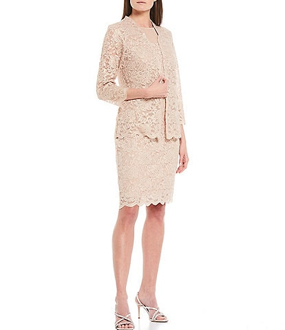 Marina Stretch Glitter Lace 2-Piece Jacket Dress
