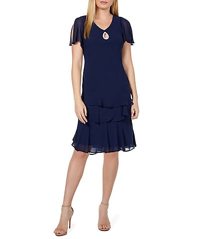 Marina Keyhole Tiered Chiffon Flutter Sleeve Dress