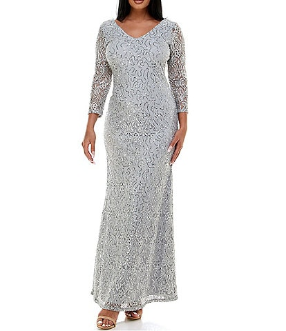 Marina V-Neck 3/4 Sleeve Stretch Sequin Lace Sheath Gown