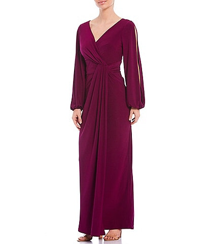 Marina V-Neck Blouson Split Sleeve Draped Gown