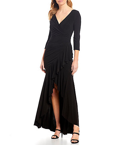 Marina V-Neck Draped Ruffle Hem Long Gown